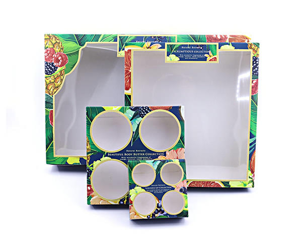 Colorful folding paper with PVC window for skin care set packaging